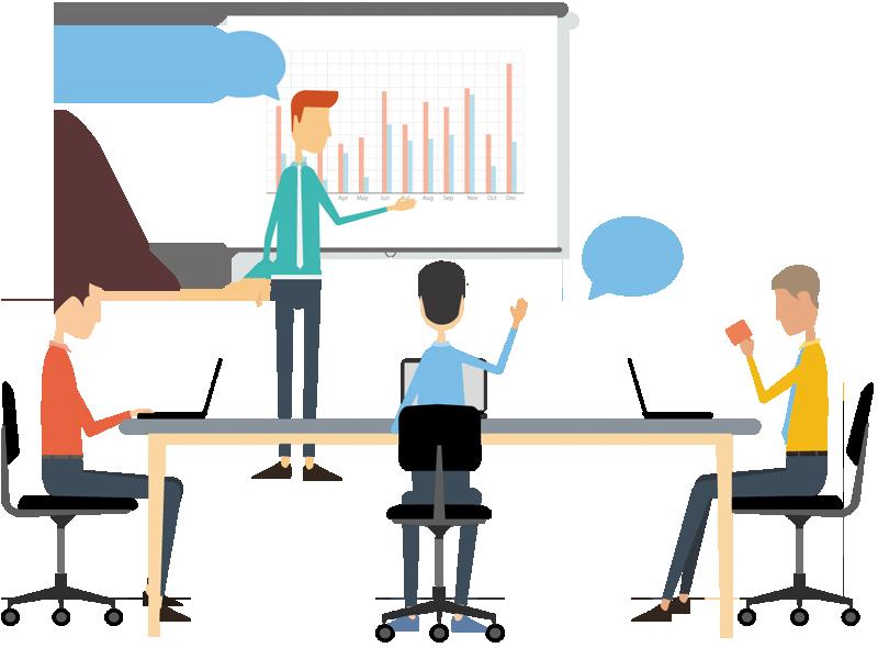 Planning clipart input. Cartoon businessman giving presentation