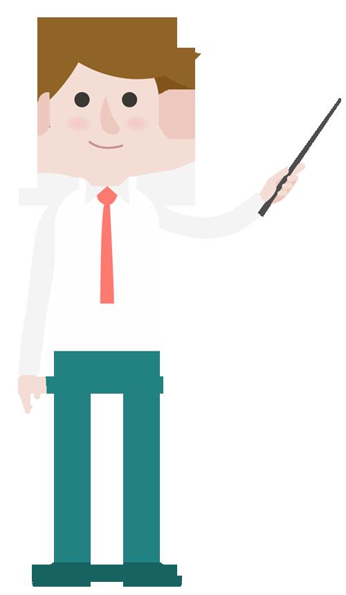 Idea clipart businessman. Cartoon pointing presentation designshop