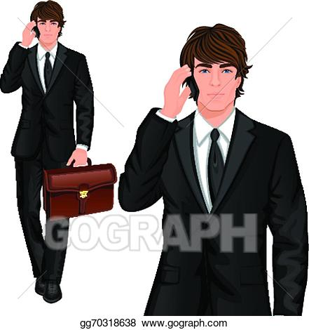 Professional clipart buisnessman. Vector art young businessman