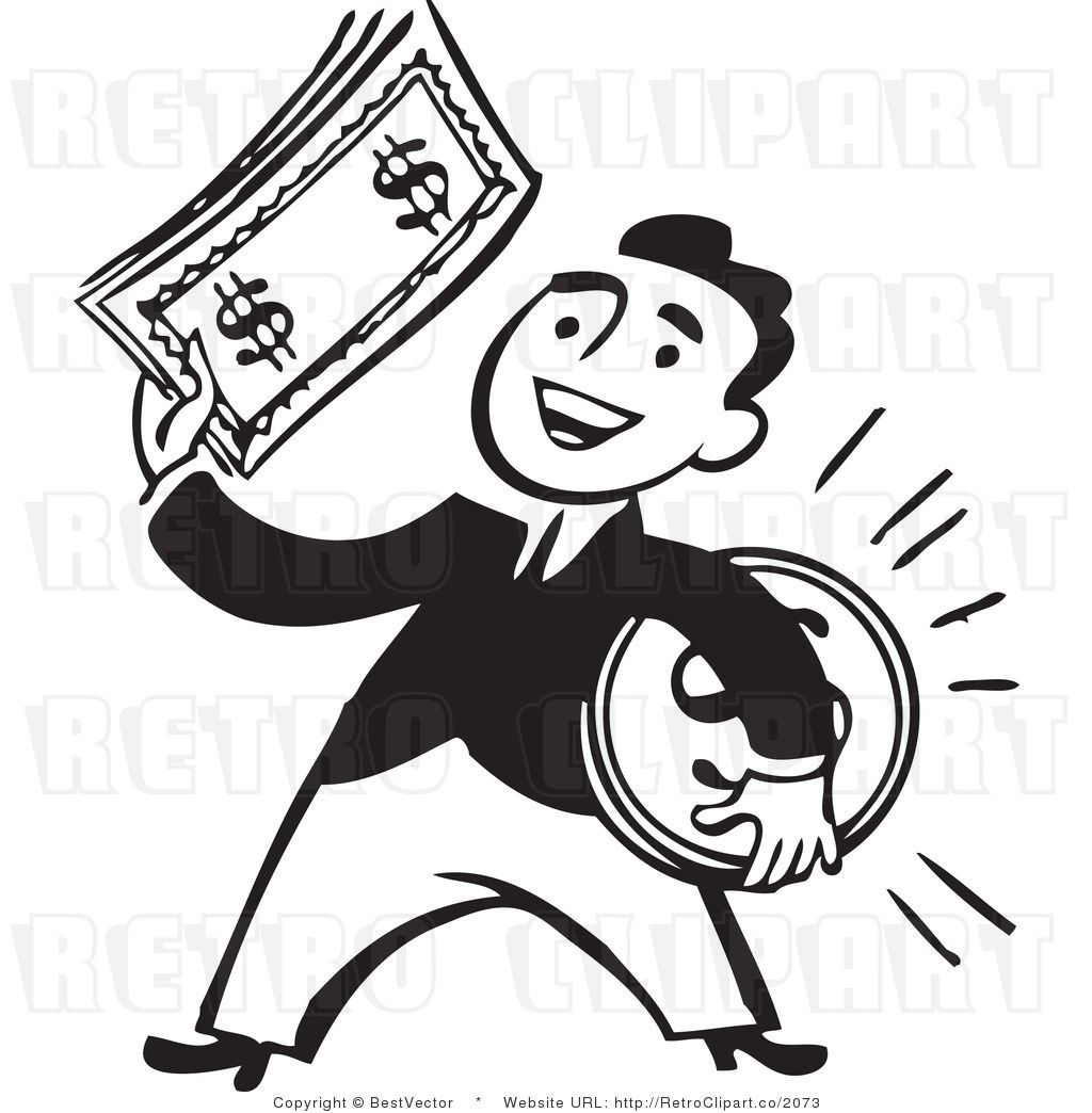 Money clipart retro. Clip art of a