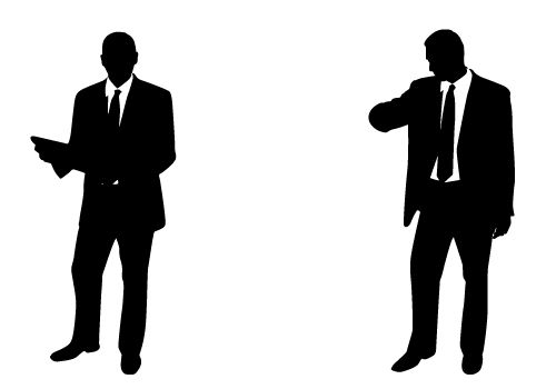 And handsome businessman silhouette. Professional clipart male professional