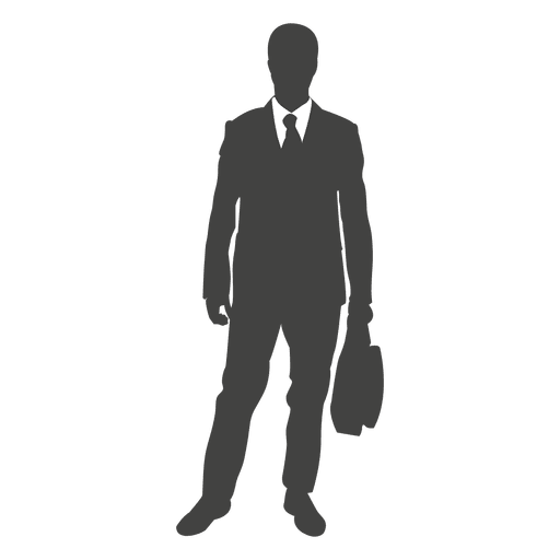 Businessman clipart transparent background. Silhouette standing with bag