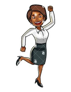 A black feeling victorious. Businesswoman clipart african american