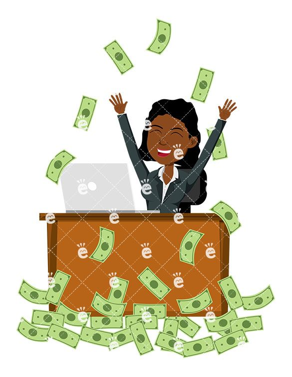 A black woman celebrating. Businesswoman clipart african american