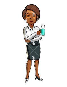Black fallen asleep cartoon. Businesswoman clipart african american