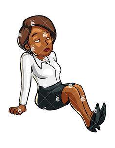 Businesswoman clipart black female lawyer. Fallen asleep cartoon vector