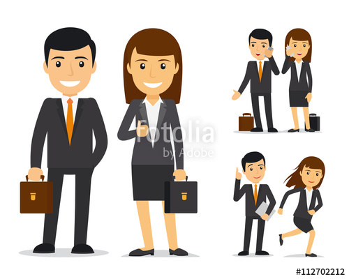 Team businessman and woman. Character clipart business man