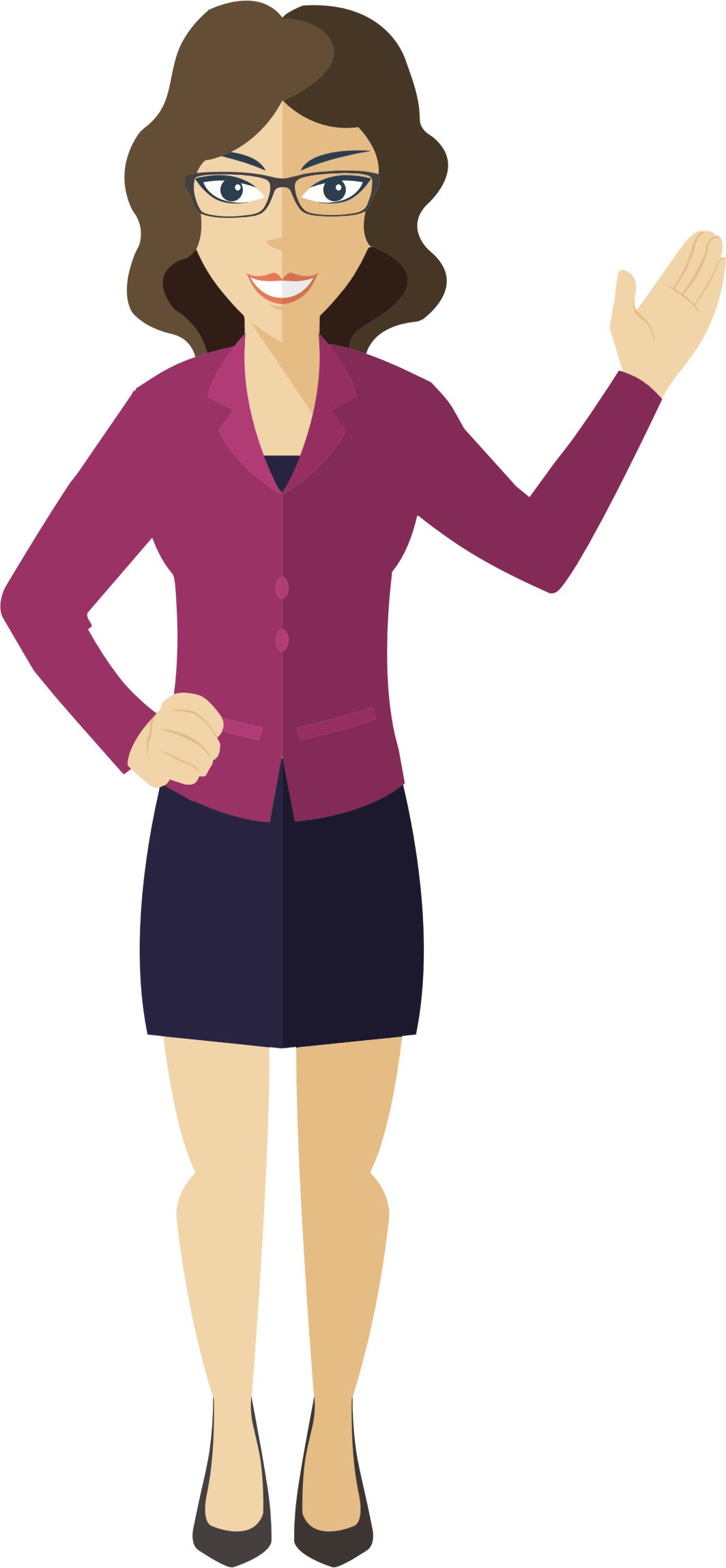 Person clipart female. Flat shaded business woman