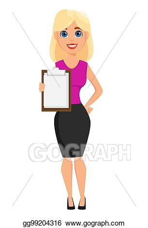 Vector illustration business woman. Businesswoman clipart cute