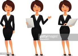 Cartoon business woman stock. Businesswoman clipart cute