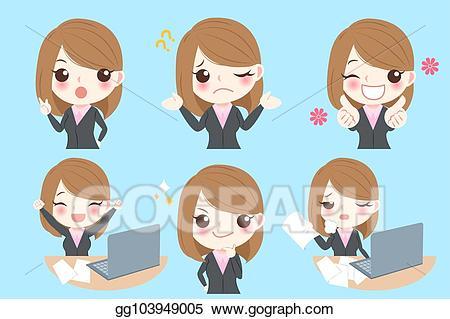 Vector do different emotion. Businesswoman clipart cute