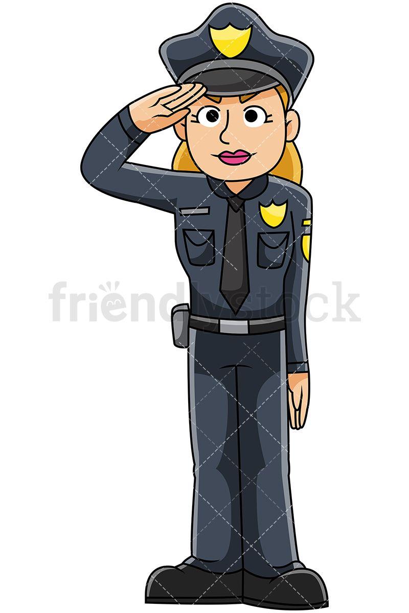 Police officer saluting vector. Businesswoman clipart female supervisor