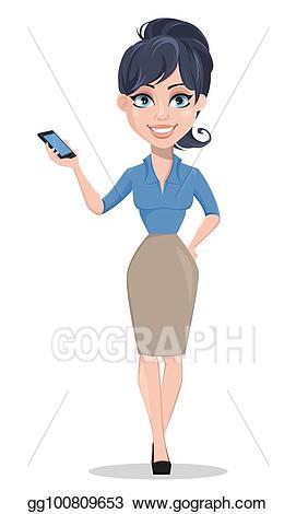 Businesswoman clipart modern woman. Eps vector business holding