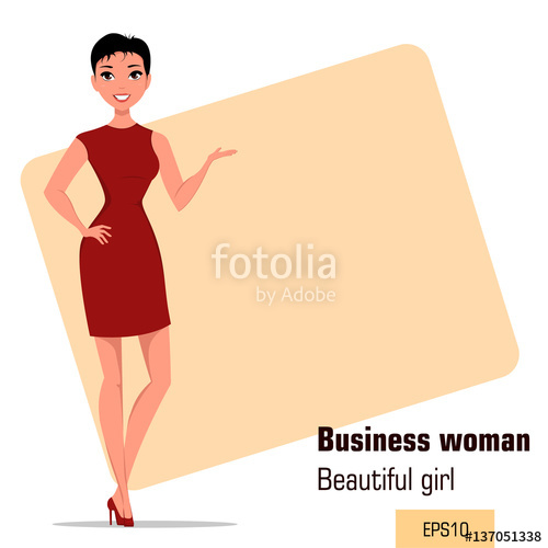 Businesswoman clipart modern woman. Young cartoon with short