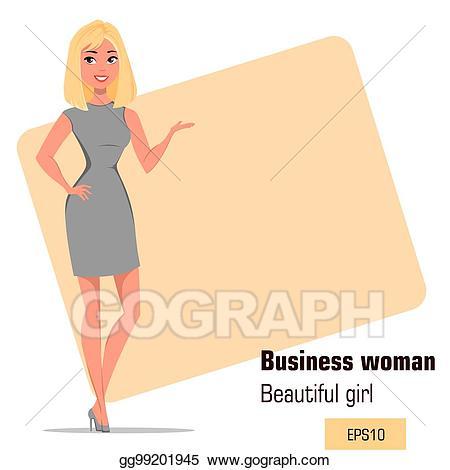 Businesswoman clipart modern woman. Vector stock young cartoon