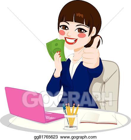 Vector art successful money. Businesswoman clipart rich