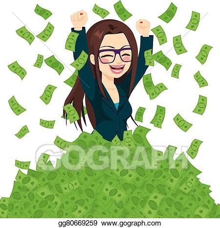 Vector art super successful. Businesswoman clipart rich