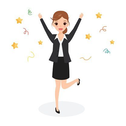 Businesswoman clipart success woman. Happy business jumping celebrating