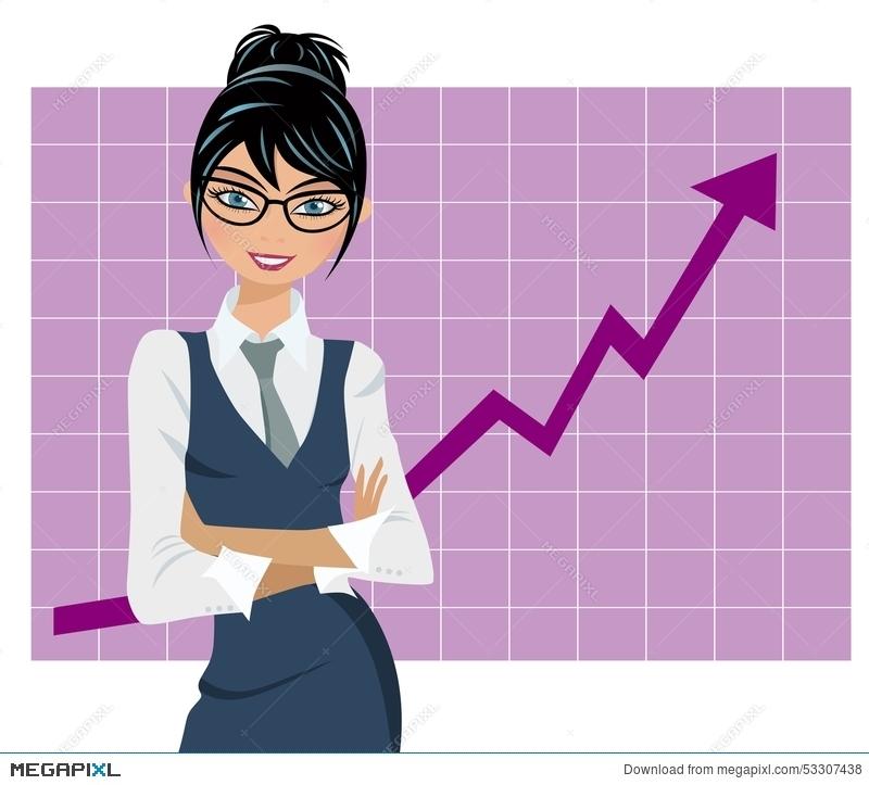 Successful business graph illustration. Businesswoman clipart success woman