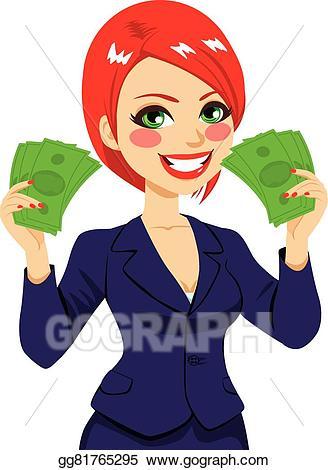 Businesswoman clipart supe woman. Eps vector money fan