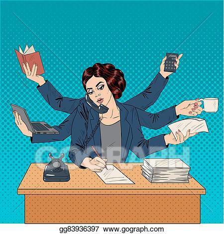 Businesswoman clipart superwoman. Vector illustration business pop