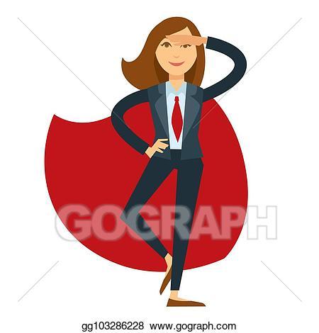 Vector illustration in suit. Businesswoman clipart superwoman