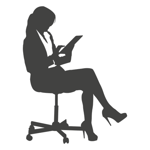 Businesswoman clipart transparent. Accessing tab on chair