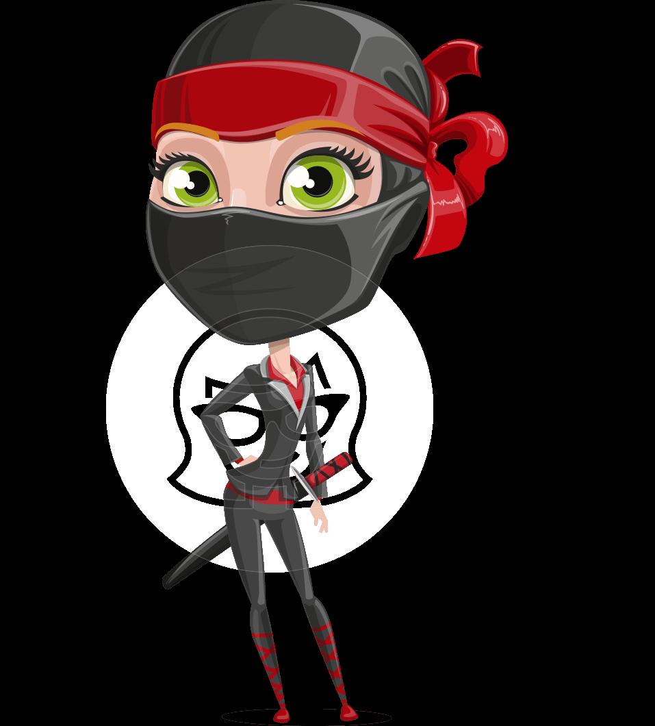 Vector female ninja cartoon. Businesswoman clipart woman character