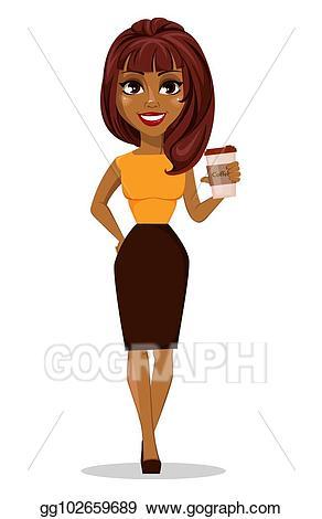 Vector art african american. Businesswoman clipart woman character