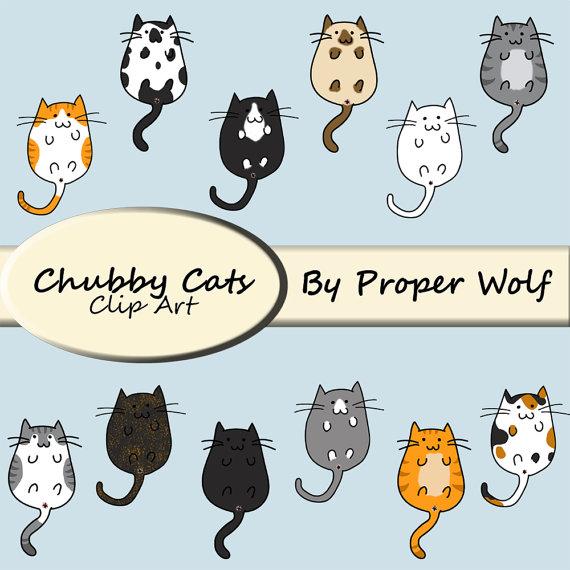 Butt clipart cat. Chubby cats clip art