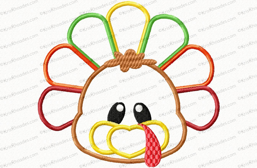 Turkey and applique embroidery. Butt clipart face