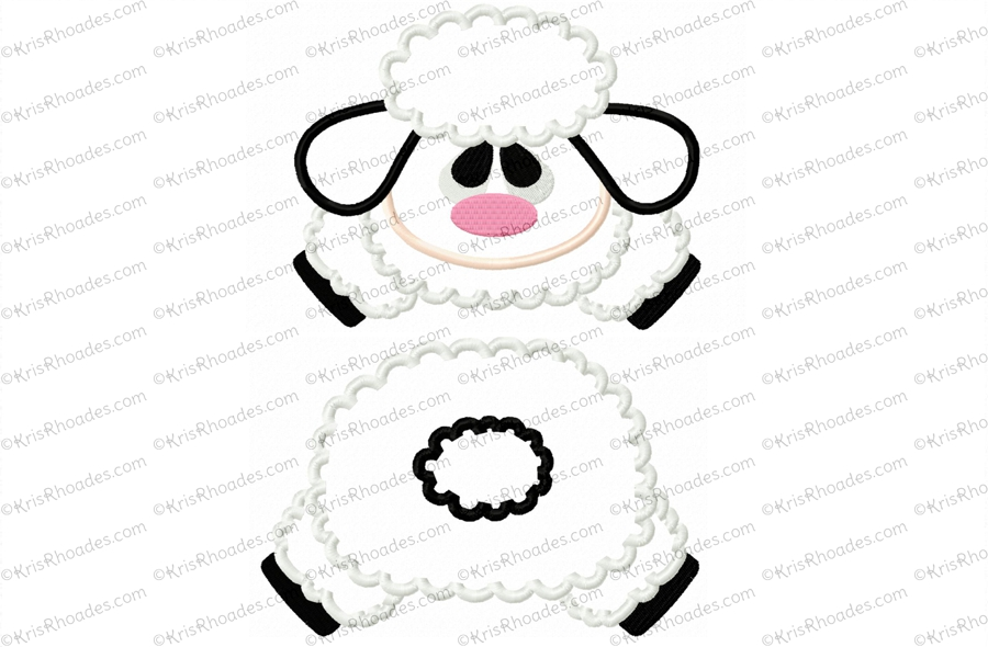 Butt clipart face. Lamb and applique embroidery