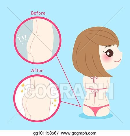 Butt clipart face. Eps illustration woman with