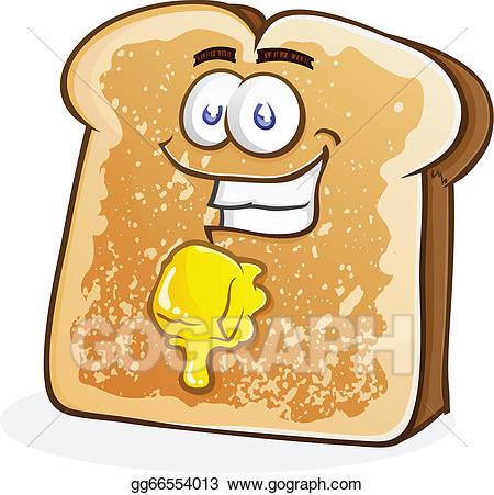 Butter clipart cartoon. Vector buttered toast character