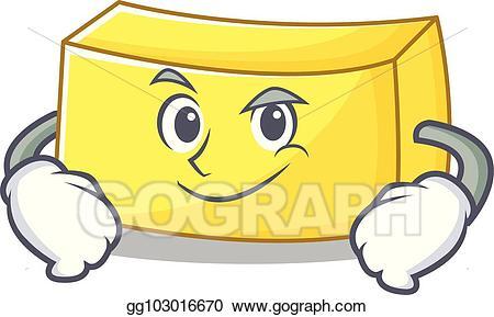 Vector illustration smirking character. Butter clipart cartoon