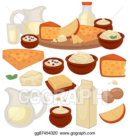 Yogurt clipart dairy product. Eps vector set of