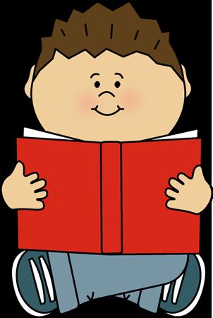 Child clipart artwork. Kid reading alone clip
