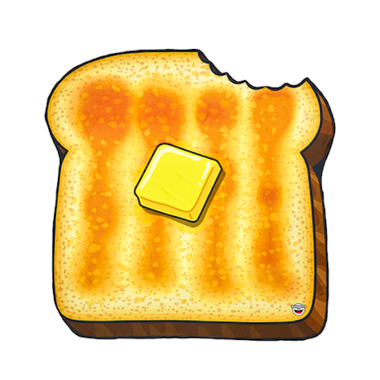 Buttered beach blanket mark. Butter clipart toast butter