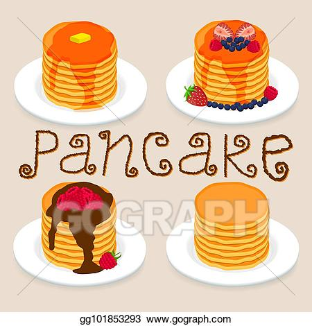 Vector stock pancakes with. Butter clipart yellow food