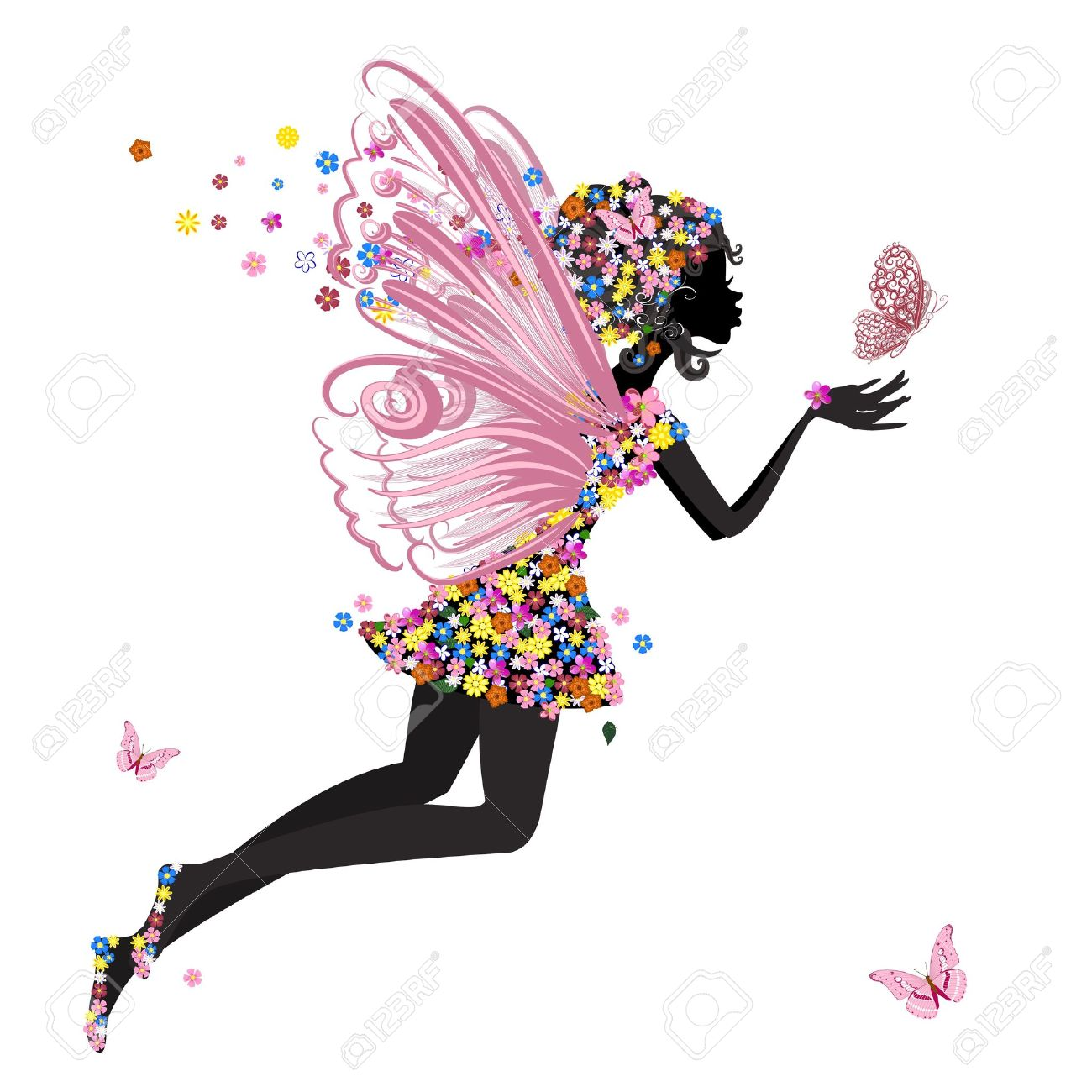 Pencil and in color. Butterfly clipart angel
