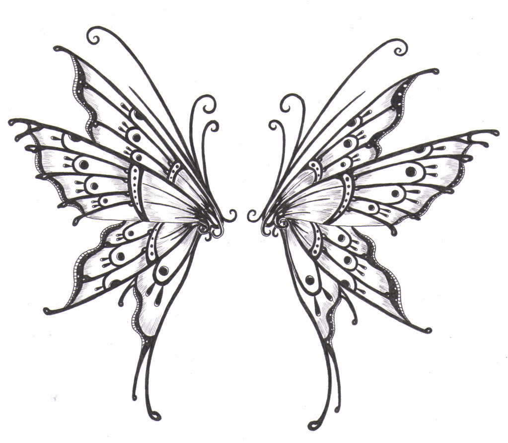 Butterfly clipart angel. Wings line drawing at