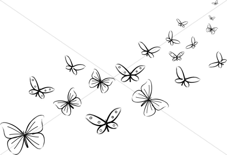 Butterfly clipart scene. Bunch of black and