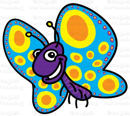 Clip art stock illustration. Cartoon clipart butterfly