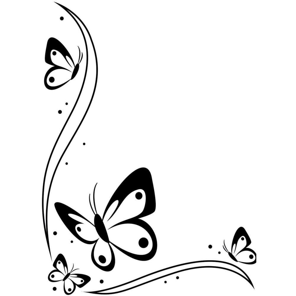Border black and white. Boarder clipart butterfly