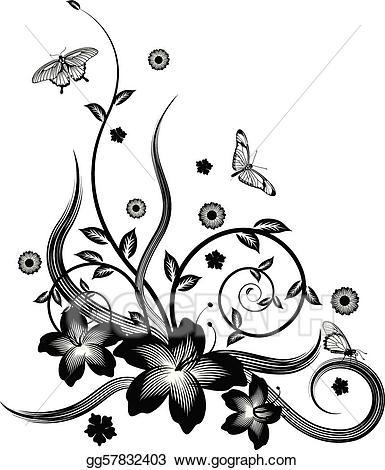 Vector art gorgeous black. Butterfly clipart corner