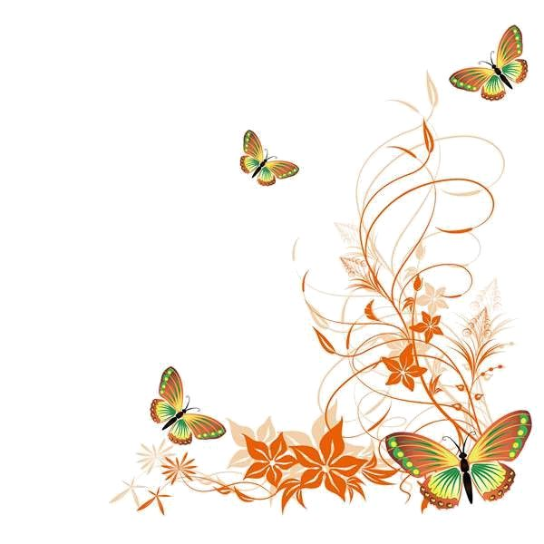 best png flowers. Butterfly clipart corner