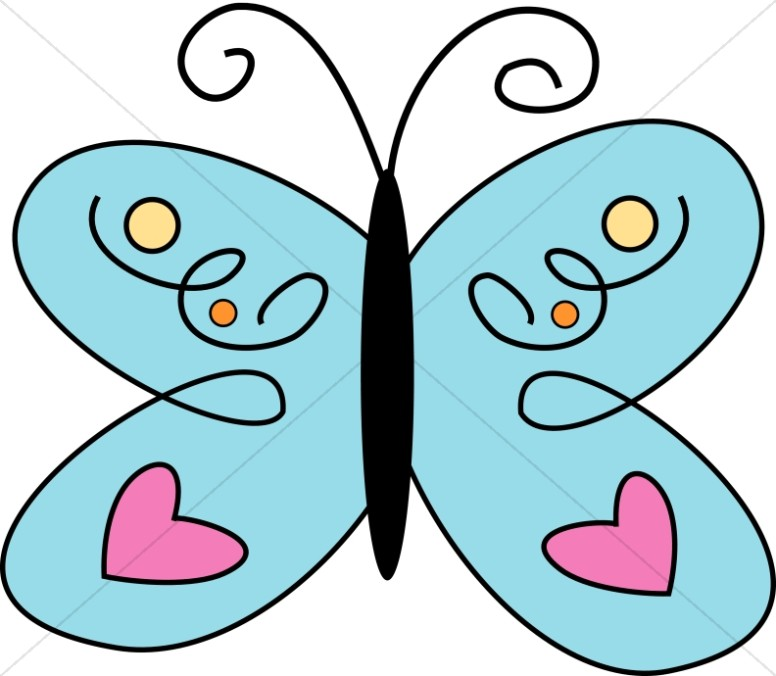 Cute blue with pink. Hearts clipart butterfly
