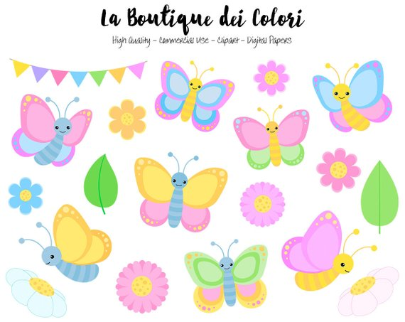 Pastel graphics png spring. Butterfly clipart cute