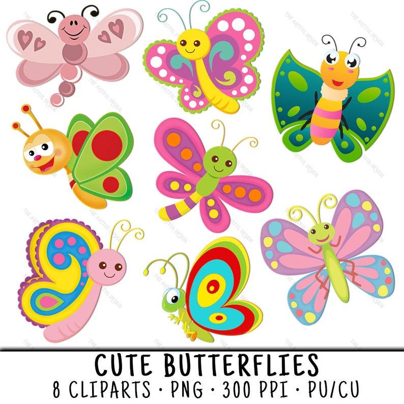 Clip art butterflies png. Butterfly clipart cute