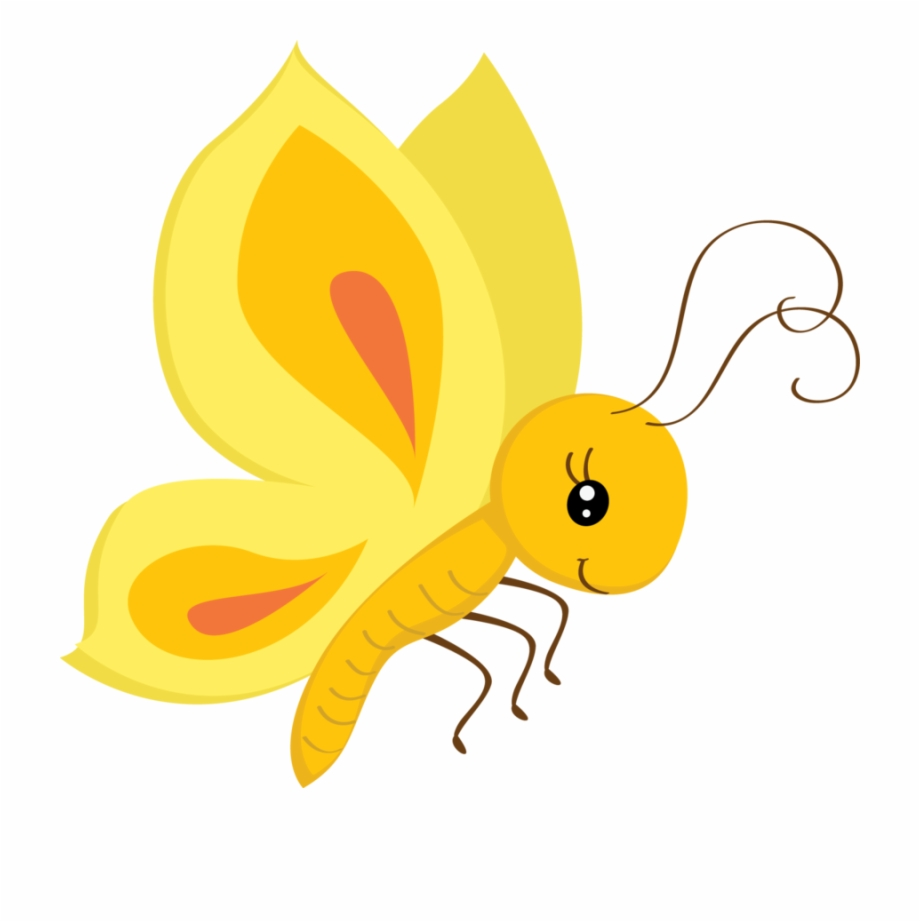 Butterfly clipart cute. Png yellow